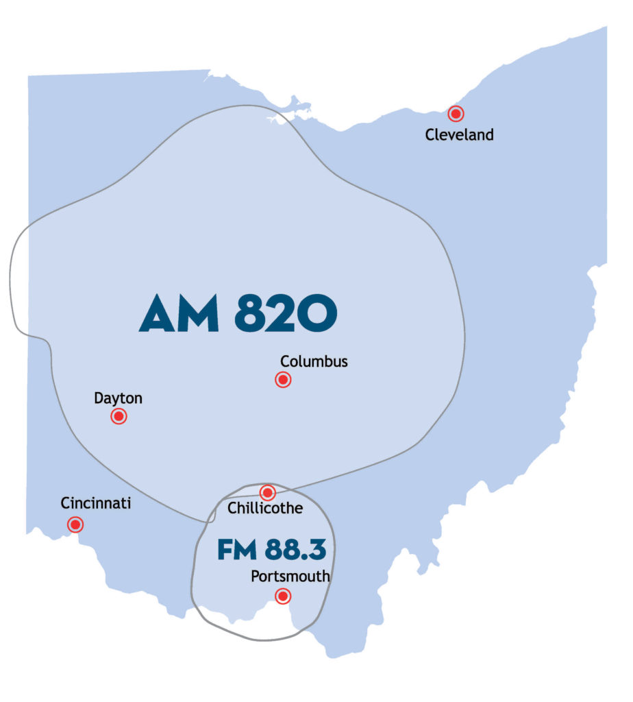 Map Graphic of Ohio with AM 820 and FM 88.3 Coverage Areas