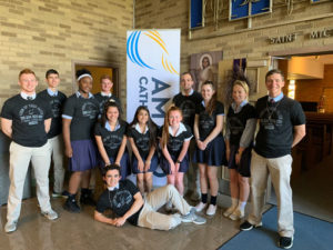 Bishop Ready students in front of AM 820 sign