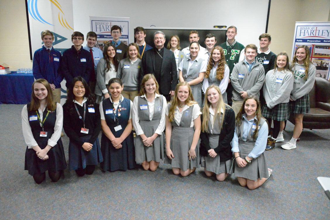 Catholic High School Students of the 2019 Forum with Bishop Brennan