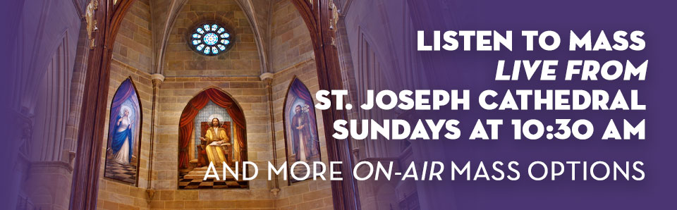 Murals from St. Joseph Cathedral Columbus for on air Mass times on St. Gabriel Radio
