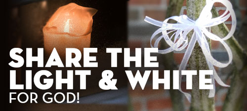 share the white and light for God button