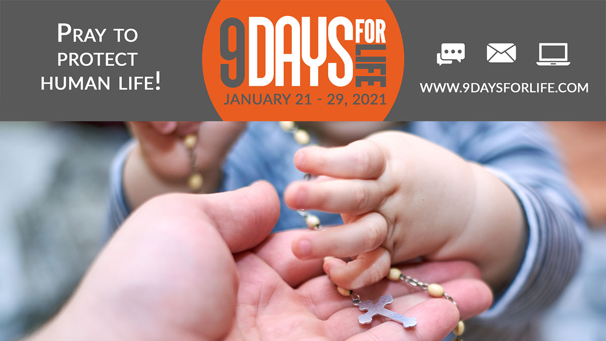 Baby holding Rosary for Nine Days of Life Novena Audio Version